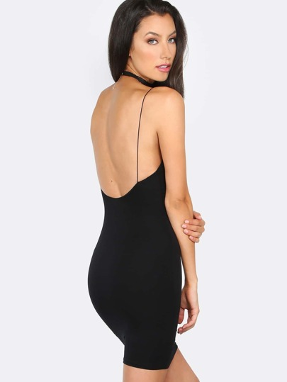 Open Back Mini Dress BLACK