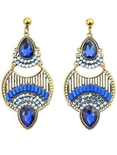 Blue Drop Gemstone Gold Earrings