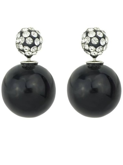 Black Diamond Bead Stud Earrings