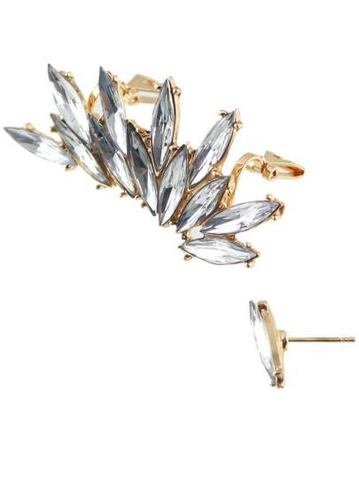 Silver Diamond Clip Earrings