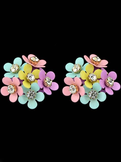 Multicolor Diamond Stud Earrings