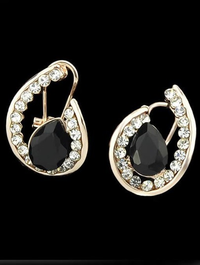 Black Gemstone Gold Stud Earrings