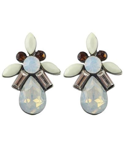 Beige Drop Gemstone Earrings
