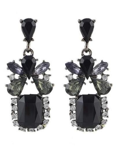 Black Gemstone Dangle Earrings