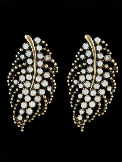 Gold With Bead Leaf Pattern Earrings