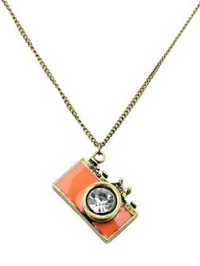 Orange Camera Pendant Necklace