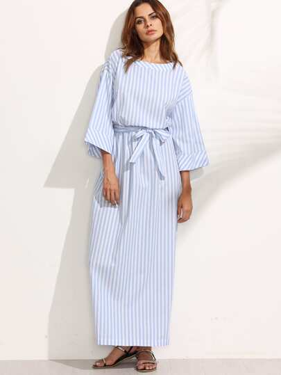 Blue Striped Bow Waist Maxi Dress