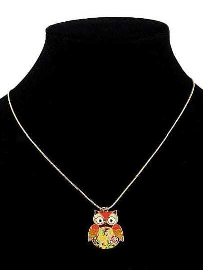 Orange Cute Owl Pendant Necklace