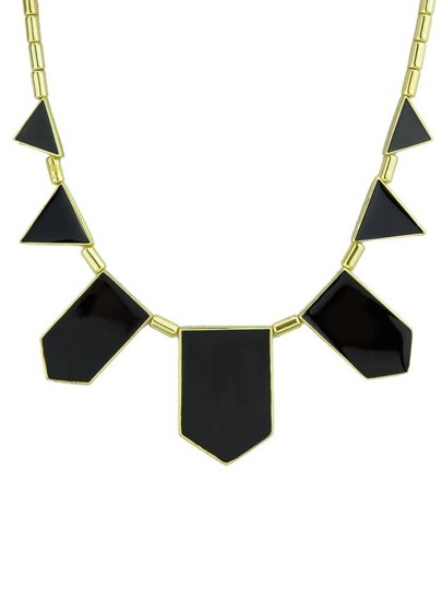 Black Geometric Monogram Necklace