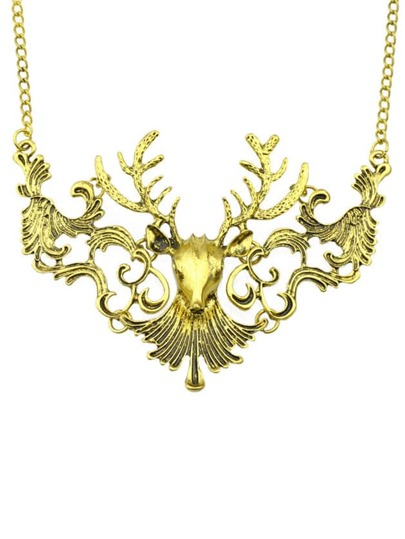 Gold Hollow Deer Necklace
