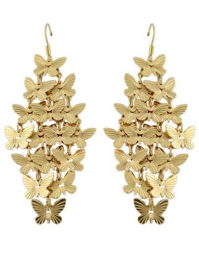boucles d'oreilles design forme de papillon -doré