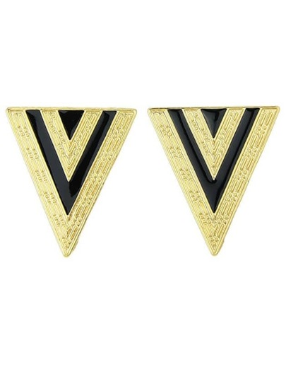 Black Triangle Enamel Alloy Earring
