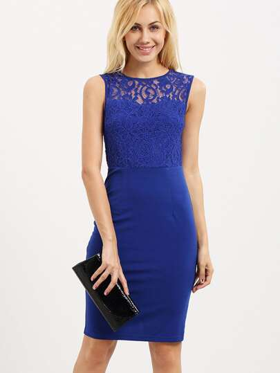 Blue Sleeveless Cut Out Back Sheath Dress