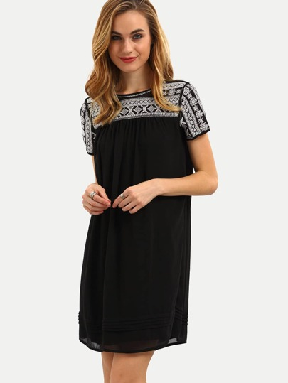 Black Short Sleeve Embroied Shift Dress