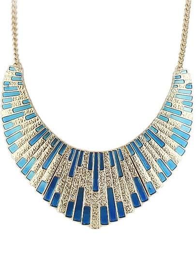 Blue Shining Bib Collar Necklace