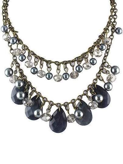 Black Drop Bead Tassel Necklace