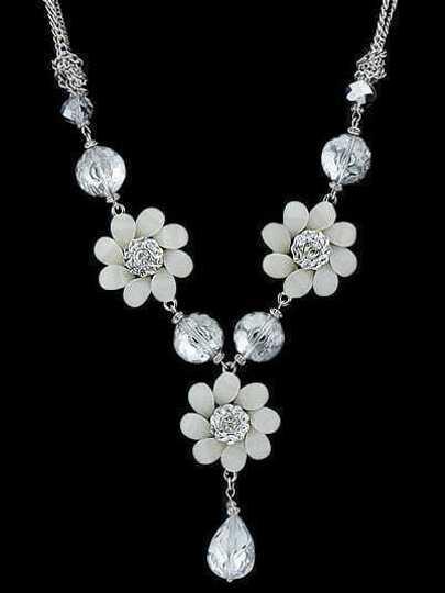 White Flower Gemstone Silver Necklace