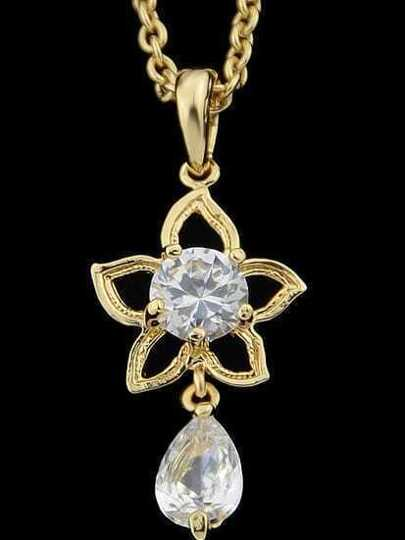 Gold Flower Diamond Pendant Necklace