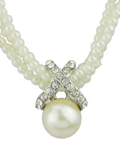 collier multi éléments perles -blanc