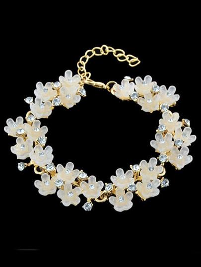 pulsera diamante floral-crudo