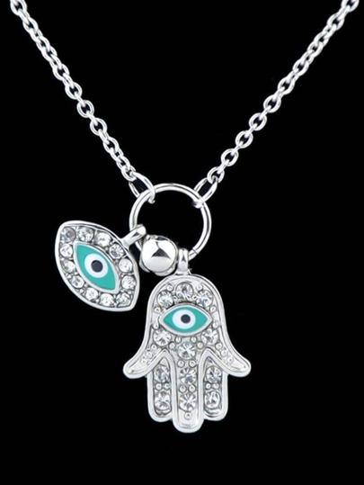 collier diamant pendentif de main -argenté