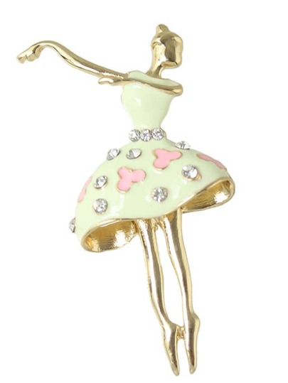 Beige Rhinestone Dancer Shape Brooch