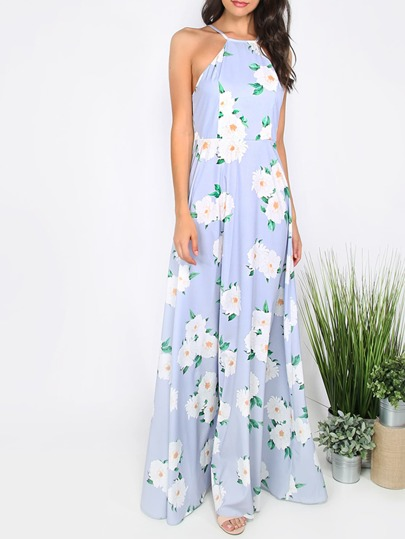 Floral Print Hater Neck Maxi Dress