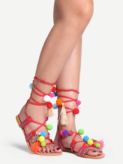 Pom Pom Trimmed Lace-Up Sandals - Red