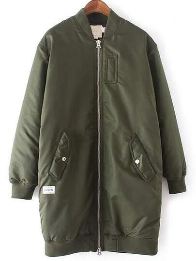 Army Green Rib-knit Cuff Pockets Jacket
