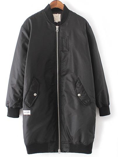 Black Rib-knit Cuff Pockets Jacket