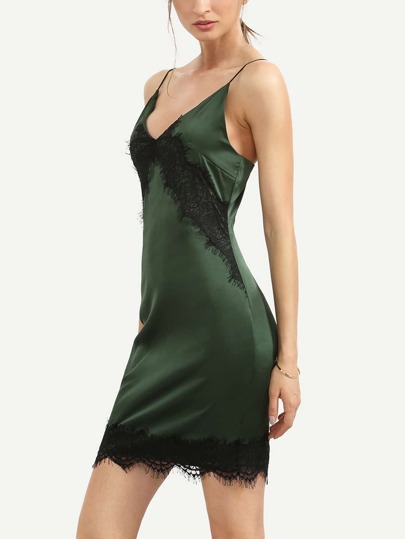 Green Spaghetti Strap Lace Hem Sheath Dress