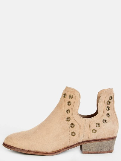 Almond Toe Eyelet Ankle Booties NATURAL