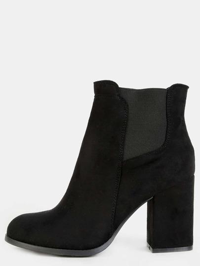 Chunky Heel Chelsea Booties BLACK