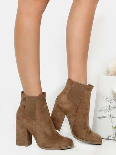 Faux Suede Chelsea Ankle Boots TAUPE