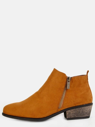 Low Cut Faux Suede Ankle Boots COGNAC