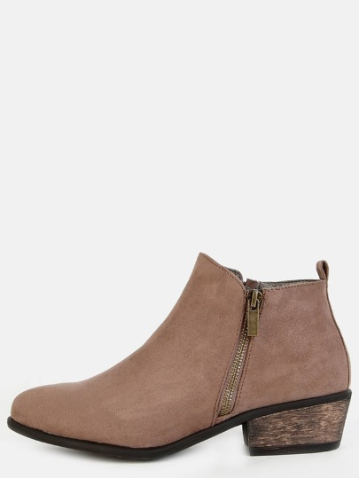 Low Cut Almond Toe Ankle Booties TAUPE