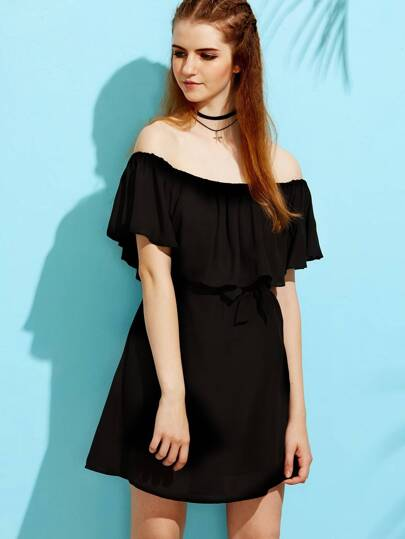 Black Self-tie Bow Ruffle Boat Neck Blouse