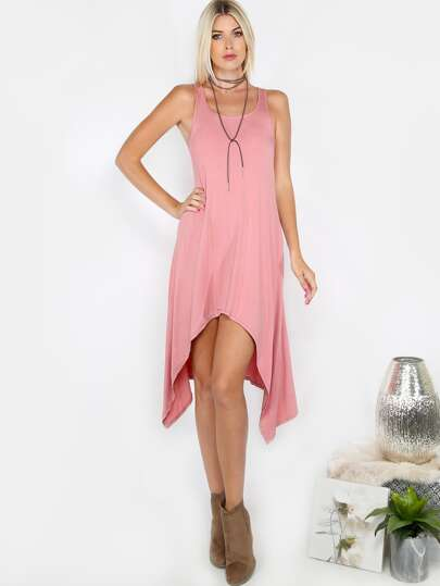 Handkerchief Hem Tank Dress PINK