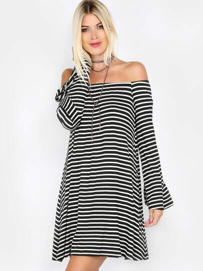 Striped Bardot Bell Sleeves Dress BLACK