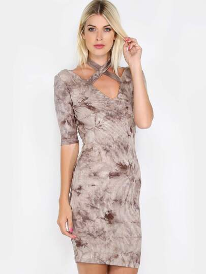 Halter Low Back Ribbed Dress COCOA