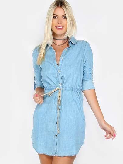 Denim Button Up Rope Tie Dress BLUE