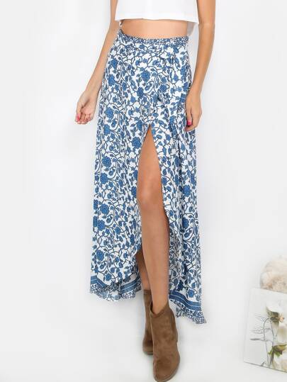 Floral Wrap Maxi Skirt BLUE MULTI