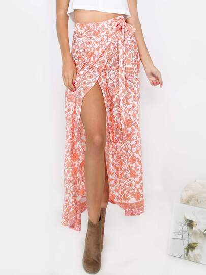 Floral Maxi Tie Around Skirt CORAL MULTI