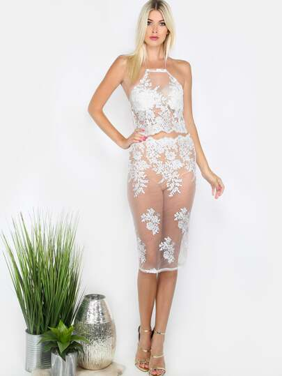Sheer Lace Halter Top Co-ord Set IVORY