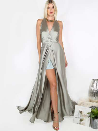 Open Front Silky Maxi Dress SAGE