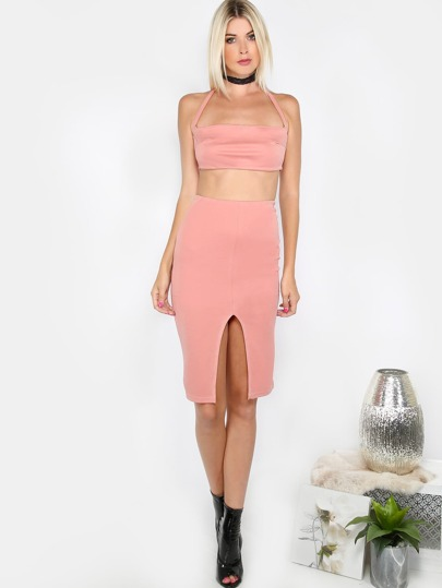 Front Slit Skirt Co-ord Set BLUSH
