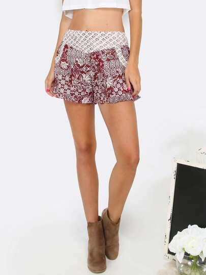 Paisley Printed Ruffle Shorts BURGUNDY