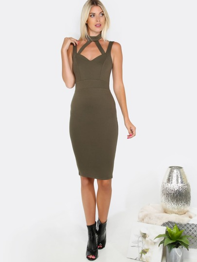 Sleeveless Cut Out Midi Dress OLIVE