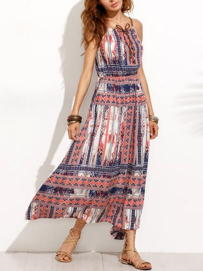 Tribal Print Lace Up Slip Dress
