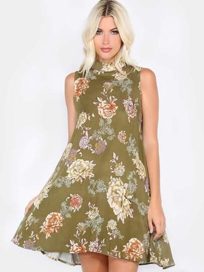 Mock Neck Vintage Florals Dress OLIVE